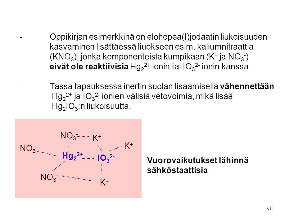 - Oppikirjan esimerkkinä on elohopea(I)jodaatin liukoisuuden