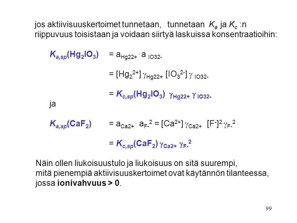 jos aktiivisuuskertoimet tunnetaan, tunnetaan Ka ja Kc :n