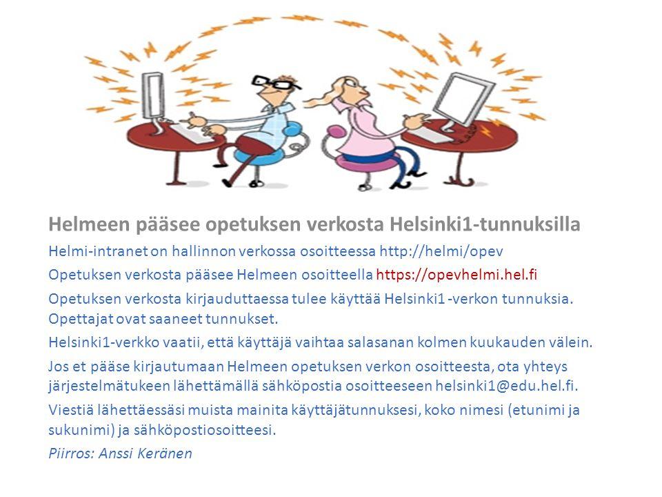 Helmeen pääsee opetuksen verkosta Helsinki1-tunnuksilla