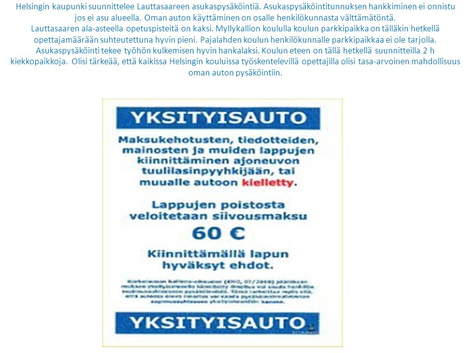 Helsingin kaupunki suunnittelee Lauttasaareen asukaspysäköintiä