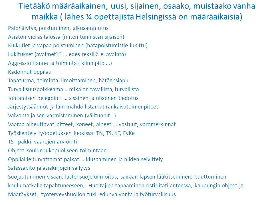 Tietääkö määräaikainen, uusi, sijainen, osaako, muistaako vanha maikka ( lähes ¼ opettajista Helsingissä on määräaikaisia)