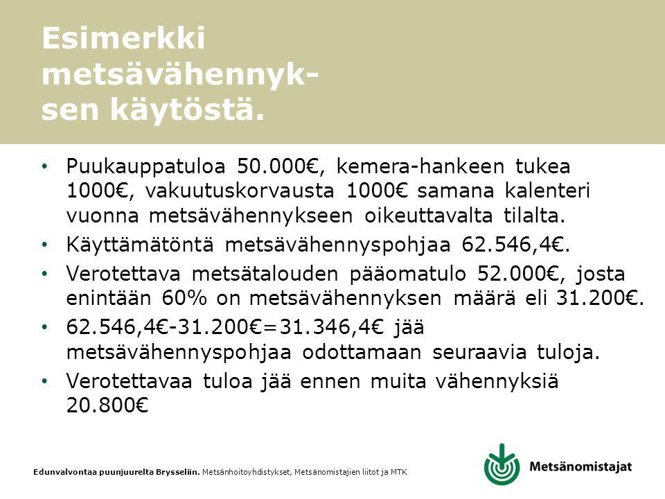 Esimerkki metsävähennyk-sen käytöstä.