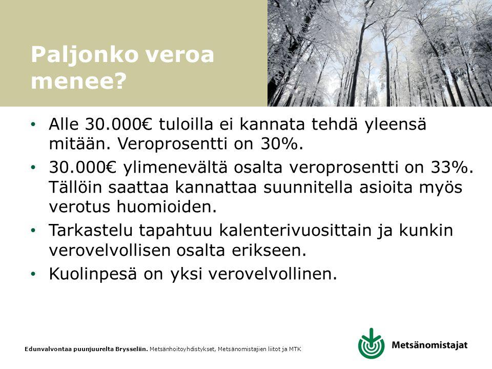 Paljonko veroa menee Alle 30.000€ tuloilla ei kannata tehdä yleensä mitään. Veroprosentti on 30%.