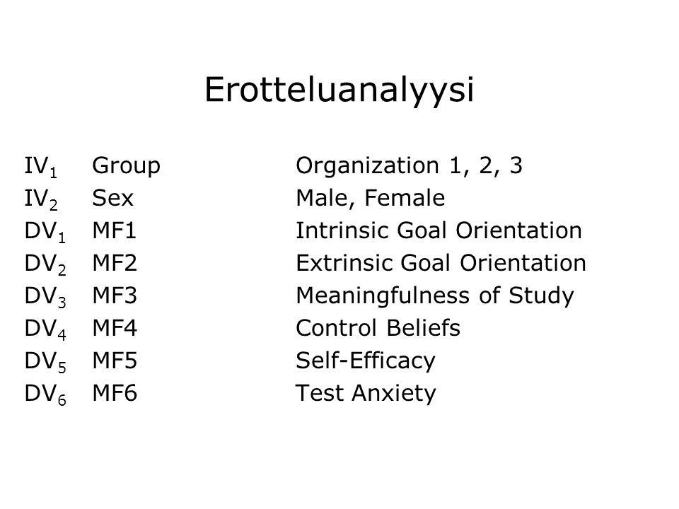 Erotteluanalyysi IV1 Group Organization 1, 2, 3 IV2 Sex Male, Female