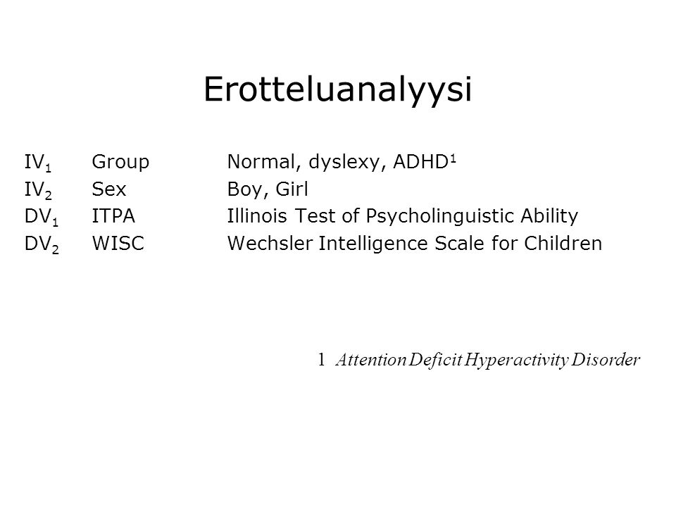 Erotteluanalyysi IV1 Group Normal, dyslexy, ADHD1 IV2 Sex Boy, Girl
