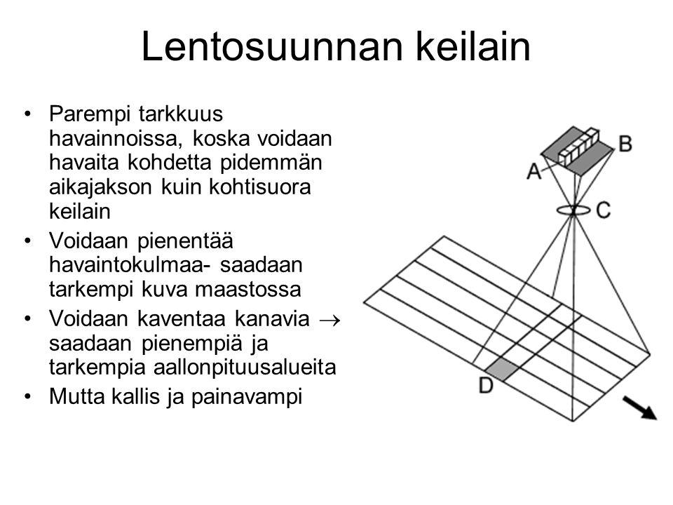 Lentosuunnan keilain Parempi tarkkuus havainnoissa, koska voidaan havaita kohdetta pidemmän aikajakson kuin kohtisuora keilain.
