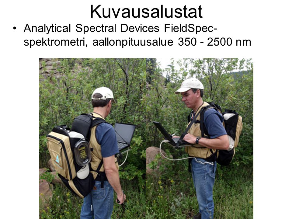 Kuvausalustat Analytical Spectral Devices FieldSpec-spektrometri, aallonpituusalue 350 - 2500 nm