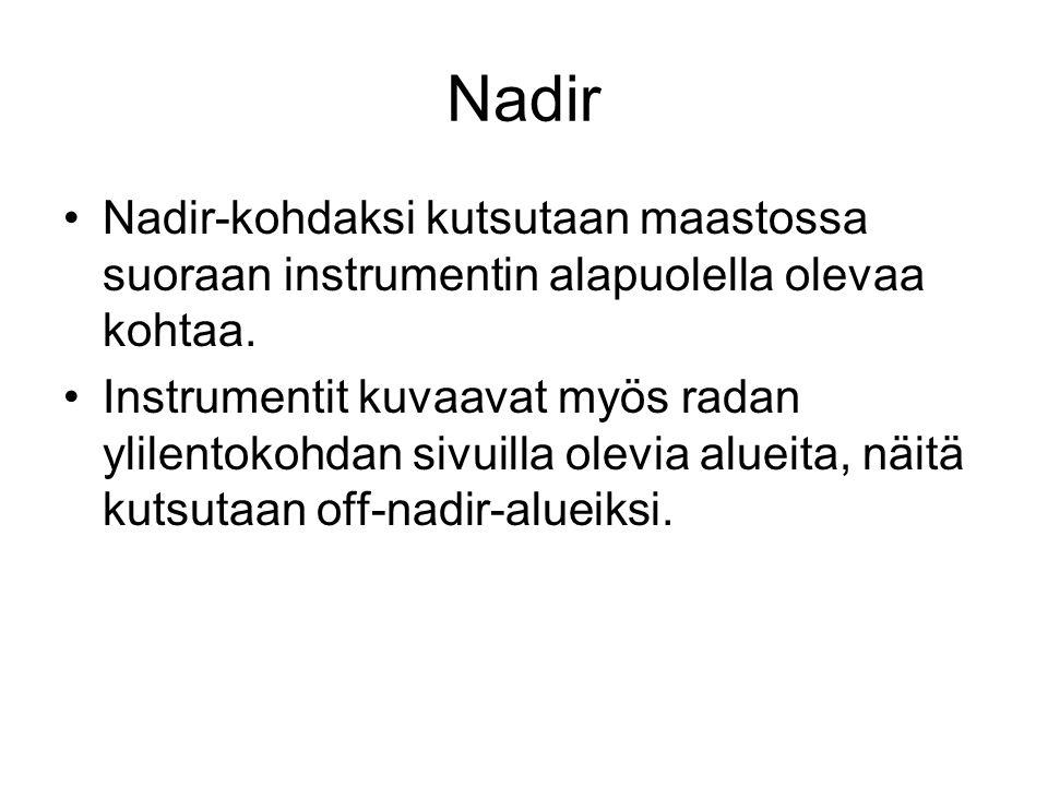Nadir Nadir-kohdaksi kutsutaan maastossa suoraan instrumentin alapuolella olevaa kohtaa.