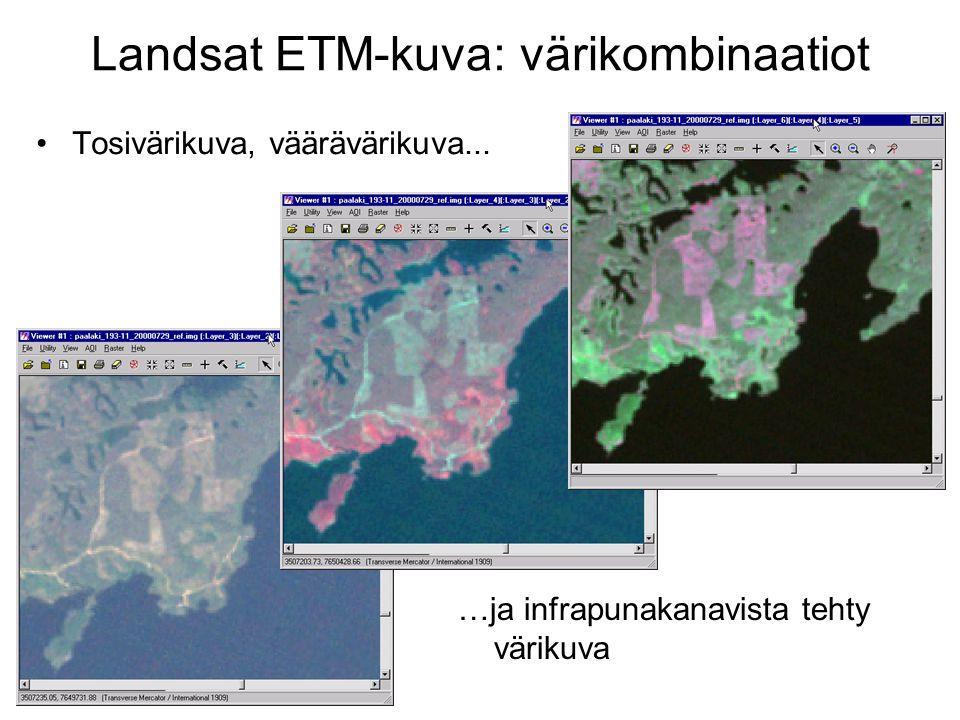 Landsat ETM-kuva: värikombinaatiot