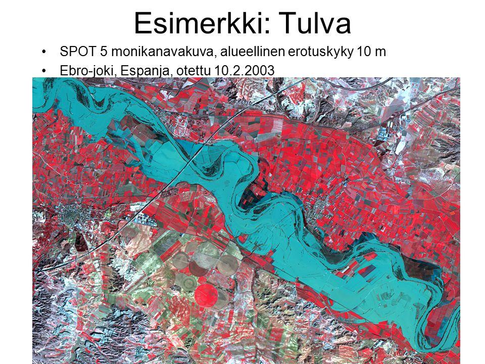 Esimerkki: Tulva SPOT 5 monikanavakuva, alueellinen erotuskyky 10 m