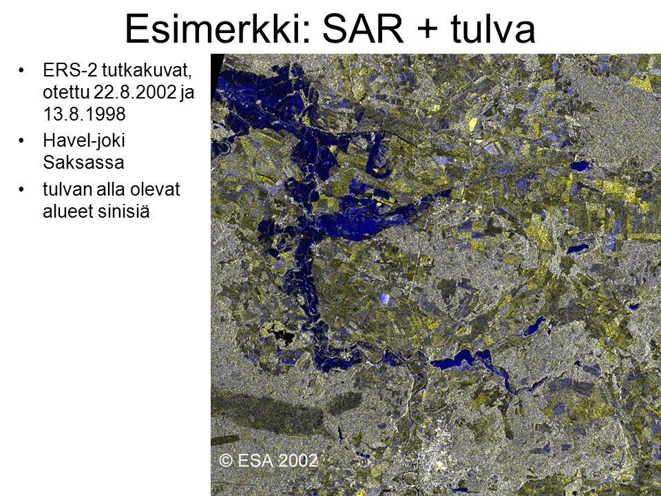 Esimerkki: SAR + tulva ERS-2 tutkakuvat, otettu 22.8.2002 ja 13.8.1998