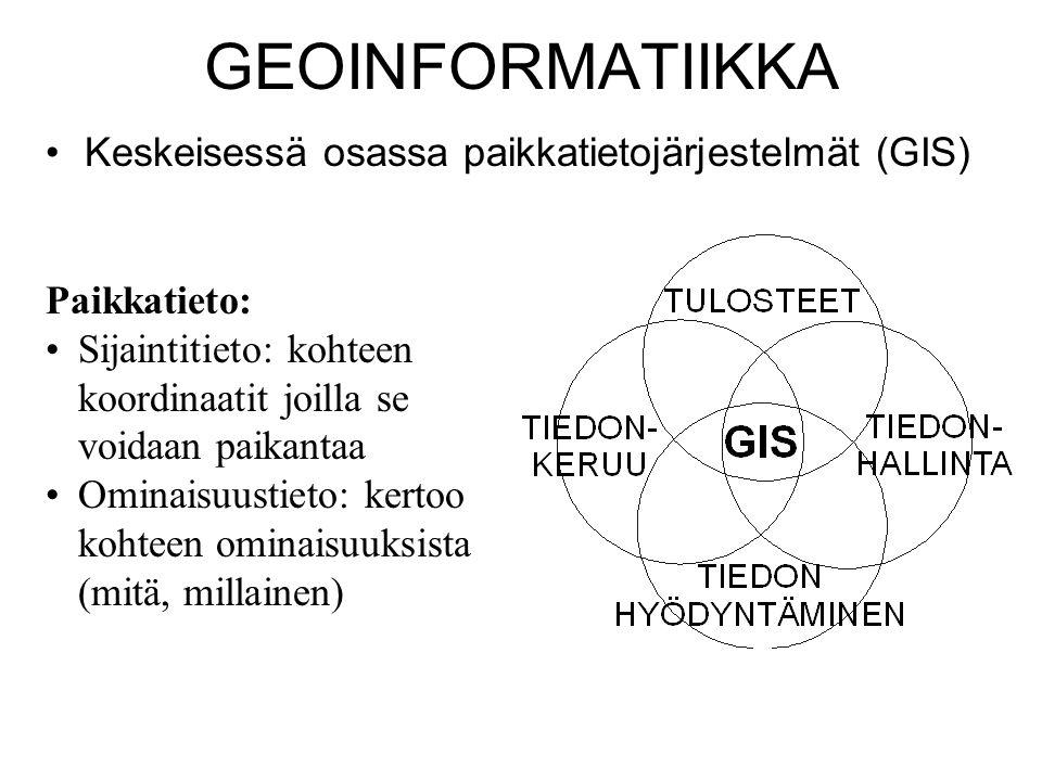 GEOINFORMATIIKKA Keskeisessä osassa paikkatietojärjestelmät (GIS)