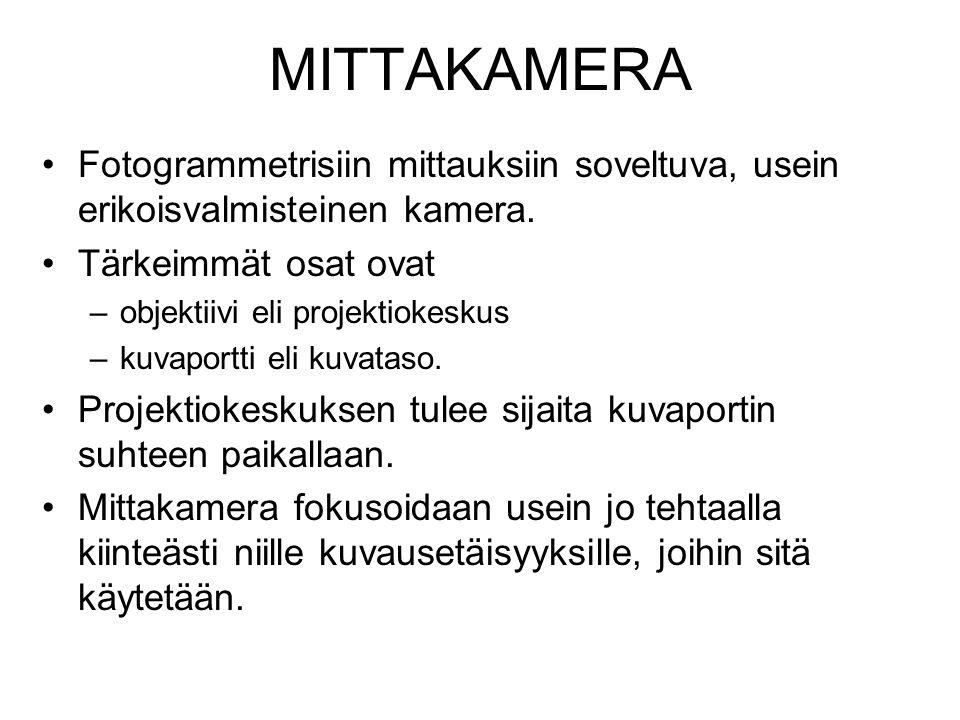 MITTAKAMERA Fotogrammetrisiin mittauksiin soveltuva, usein erikoisvalmisteinen kamera. Tärkeimmät osat ovat.