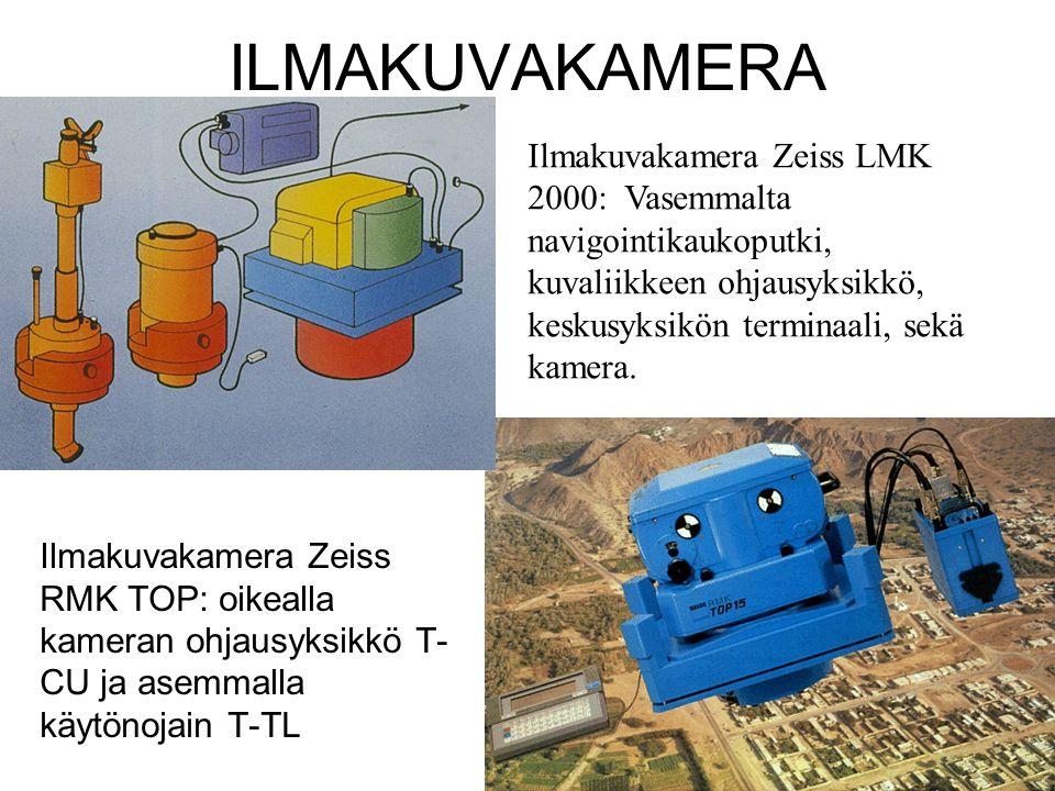 ILMAKUVAKAMERA Ilmakuvakamera Zeiss LMK 2000: Vasemmalta navigointikaukoputki, kuvaliikkeen ohjausyksikkö, keskusyksikön terminaali, sekä kamera.