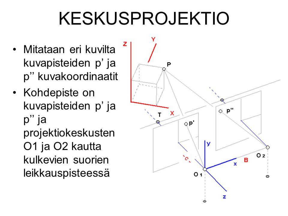 KESKUSPROJEKTIO Mitataan eri kuvilta kuvapisteiden p' ja p'' kuvakoordinaatit.