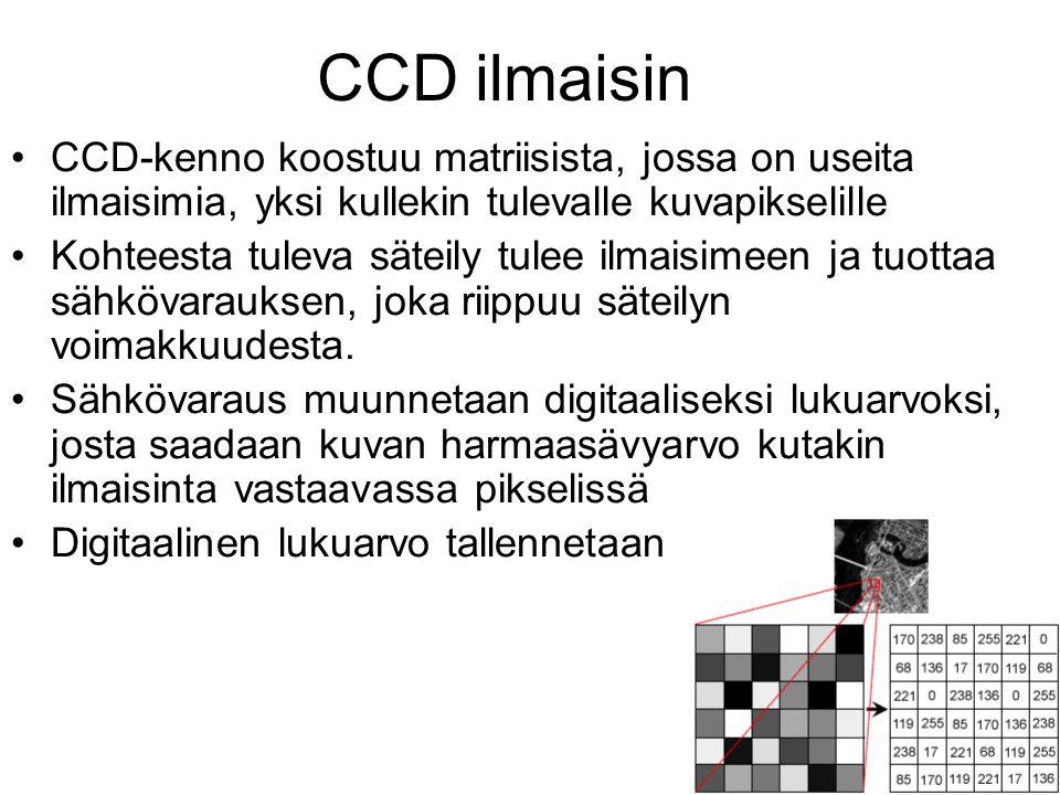 CCD ilmaisin CCD-kenno koostuu matriisista, jossa on useita ilmaisimia, yksi kullekin tulevalle kuvapikselille.