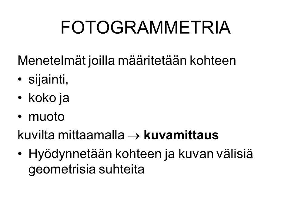 FOTOGRAMMETRIA Menetelmät joilla määritetään kohteen sijainti, koko ja