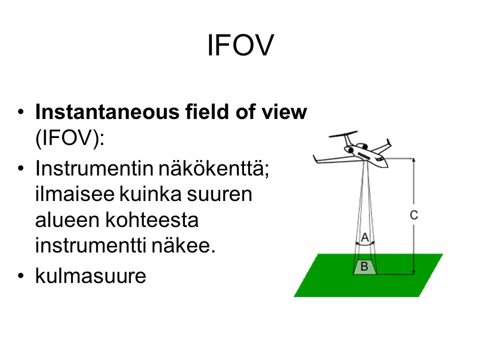 IFOV Instantaneous field of view (IFOV):