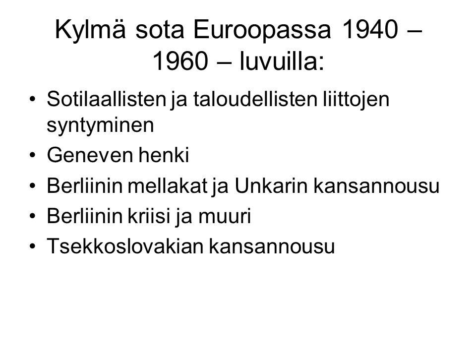 Kylmä sota Euroopassa 1940 – 1960 – luvuilla: