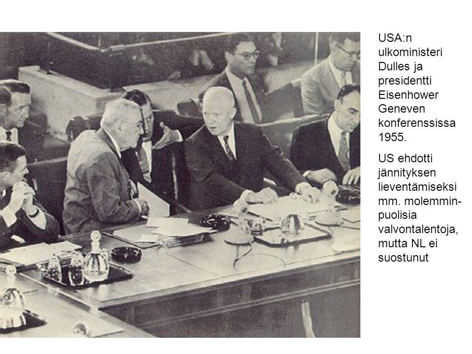 USA:n ulkoministeri Dulles ja presidentti Eisenhower Geneven konferenssissa 1955.