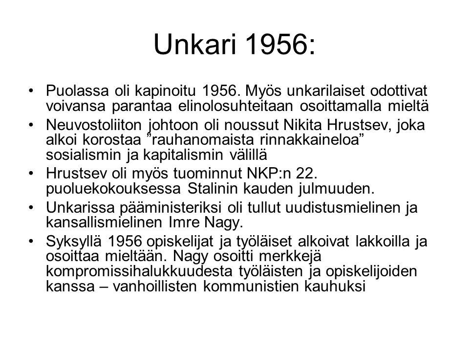 Unkari 1956: Puolassa oli kapinoitu 1956. Myös unkarilaiset odottivat voivansa parantaa elinolosuhteitaan osoittamalla mieltä.
