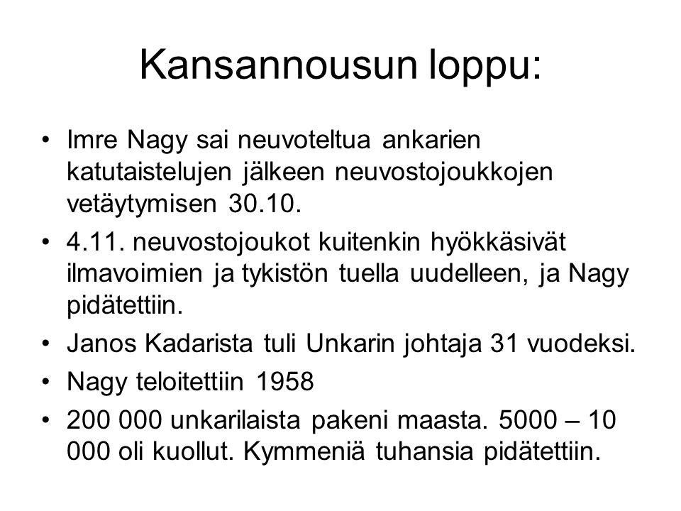 Kansannousun loppu: Imre Nagy sai neuvoteltua ankarien katutaistelujen jälkeen neuvostojoukkojen vetäytymisen 30.10.