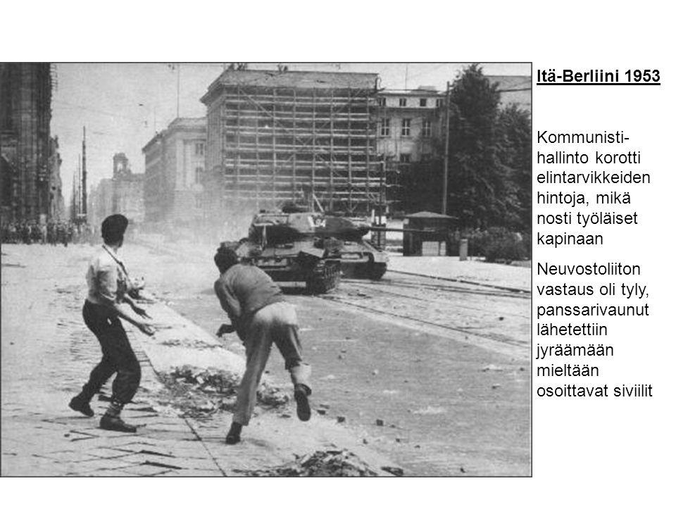 Itä-Berliini 1953 Kommunisti-hallinto korotti elintarvikkeiden hintoja, mikä nosti työläiset kapinaan.