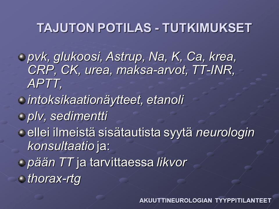 TAJUTON POTILAS - TUTKIMUKSET