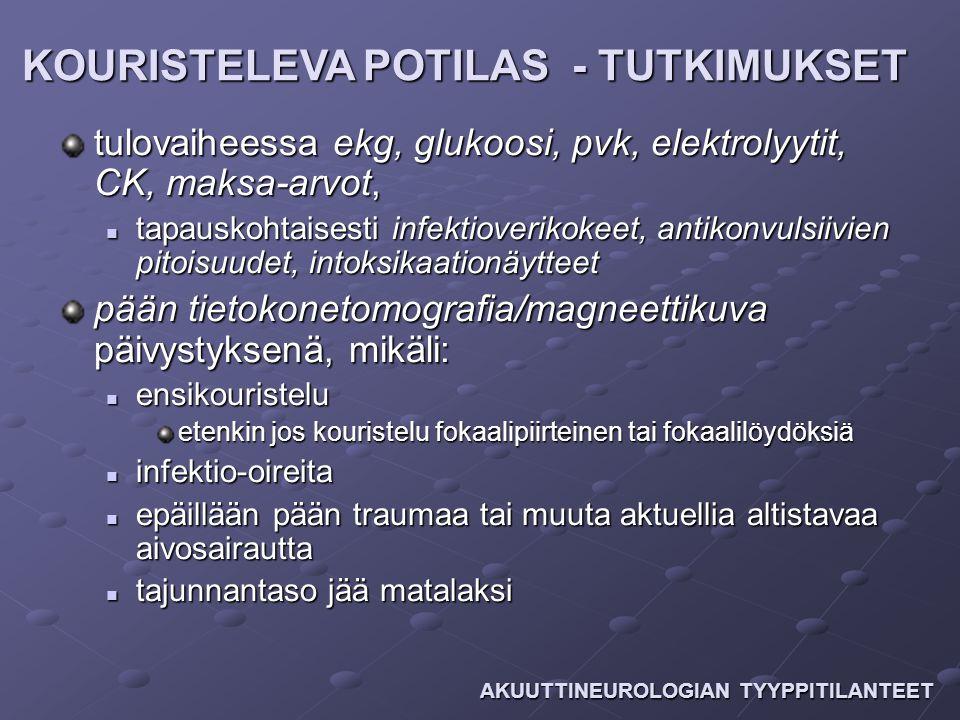 KOURISTELEVA POTILAS - TUTKIMUKSET