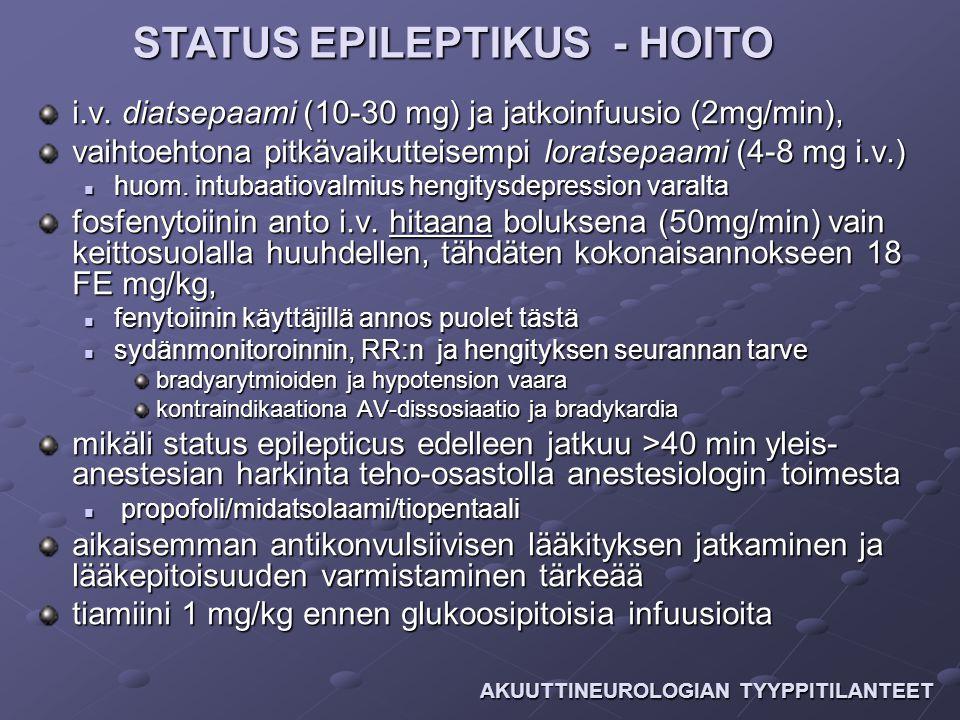 STATUS EPILEPTIKUS - HOITO