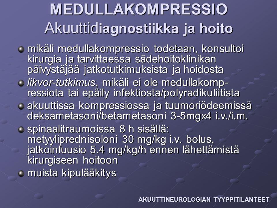 MEDULLAKOMPRESSIO Akuuttidiagnostiikka ja hoito