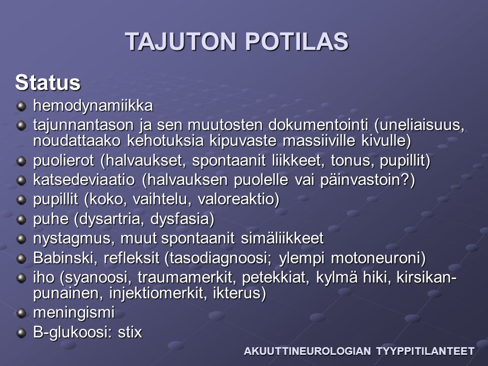 TAJUTON POTILAS Status hemodynamiikka