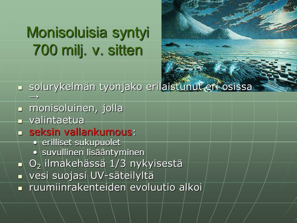 Monisoluisia syntyi 700 milj. v. sitten