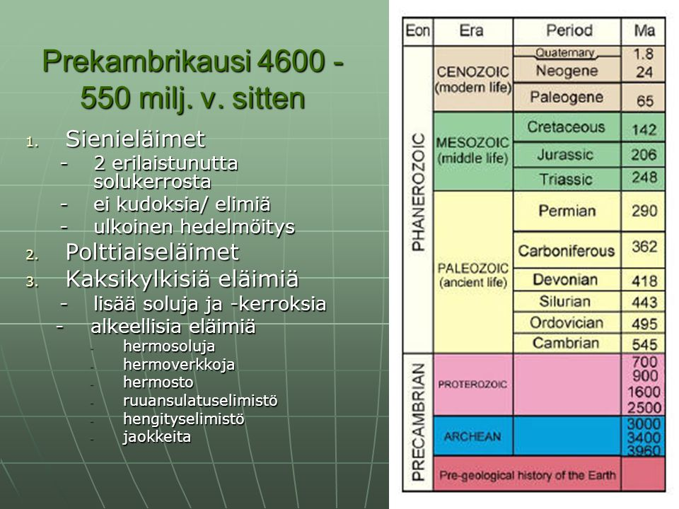 Prekambrikausi 4600 - 550 milj. v. sitten