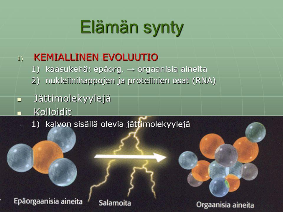 Elämän synty KEMIALLINEN EVOLUUTIO Jättimolekyylejä Kolloidit