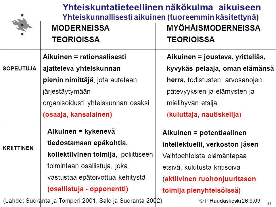 (Lähde: Suoranta ja Tomperi 2001, Salo ja Suoranta 2002)