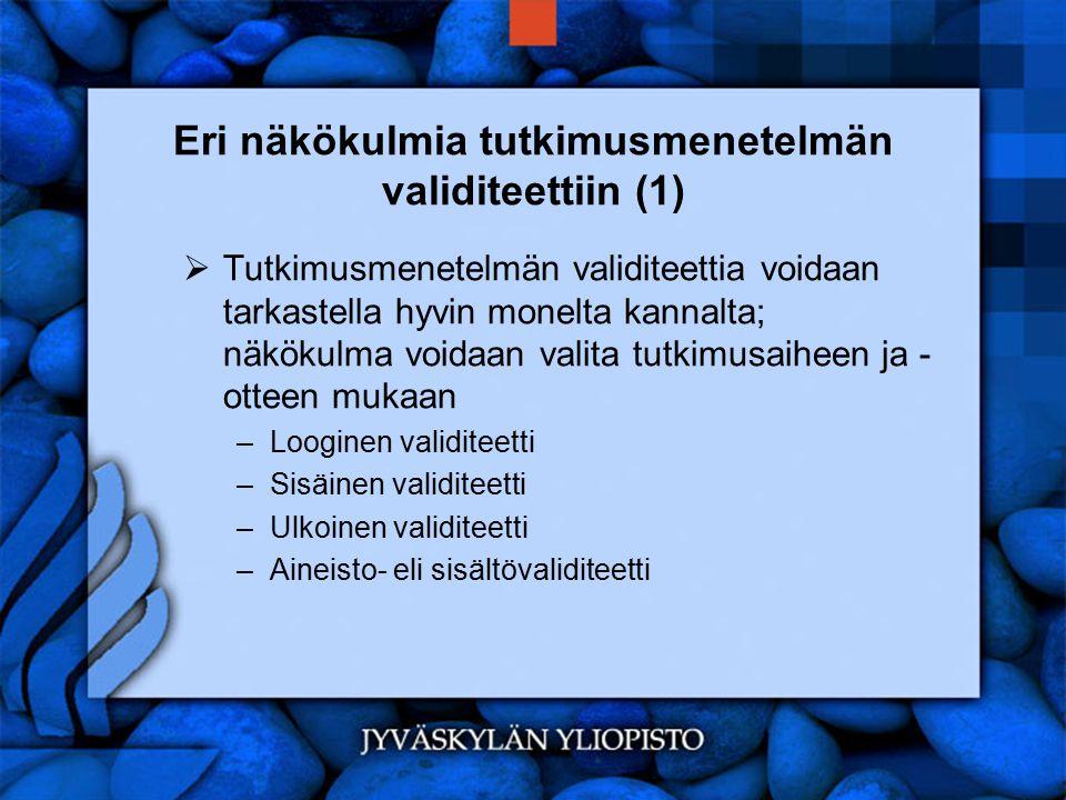 Eri näkökulmia tutkimusmenetelmän validiteettiin (1)