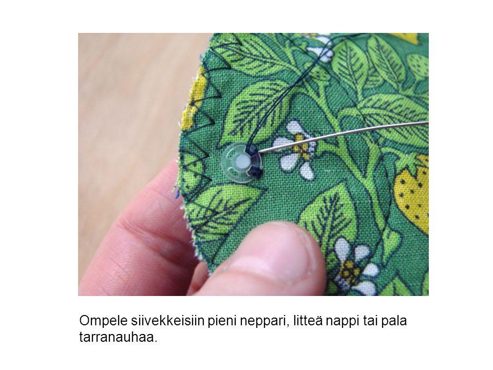 Ompele siivekkeisiin pieni neppari, litteä nappi tai pala