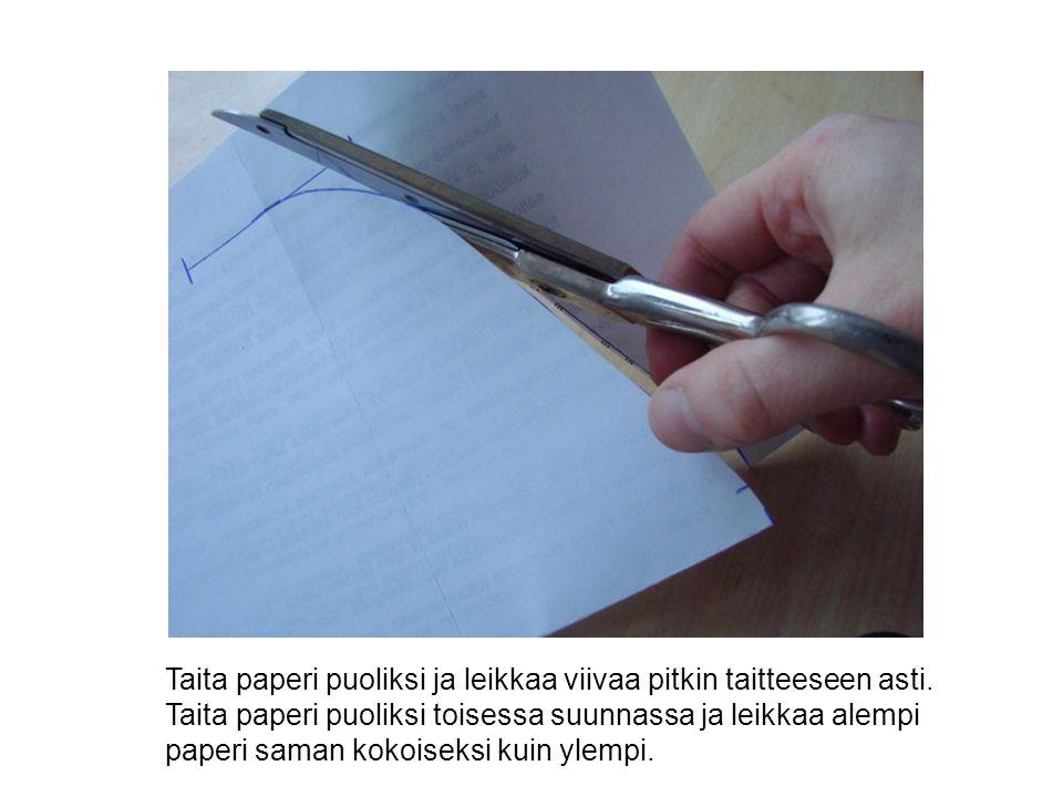 Taita paperi puoliksi ja leikkaa viivaa pitkin taitteeseen asti.