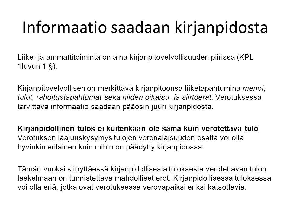 Informaatio saadaan kirjanpidosta