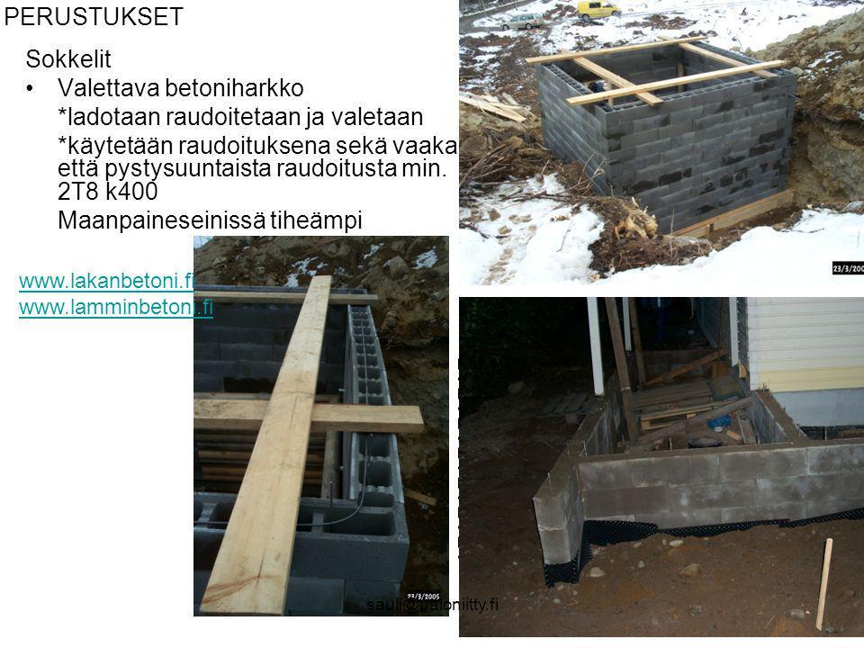 Valettava betoniharkko *ladotaan raudoitetaan ja valetaan