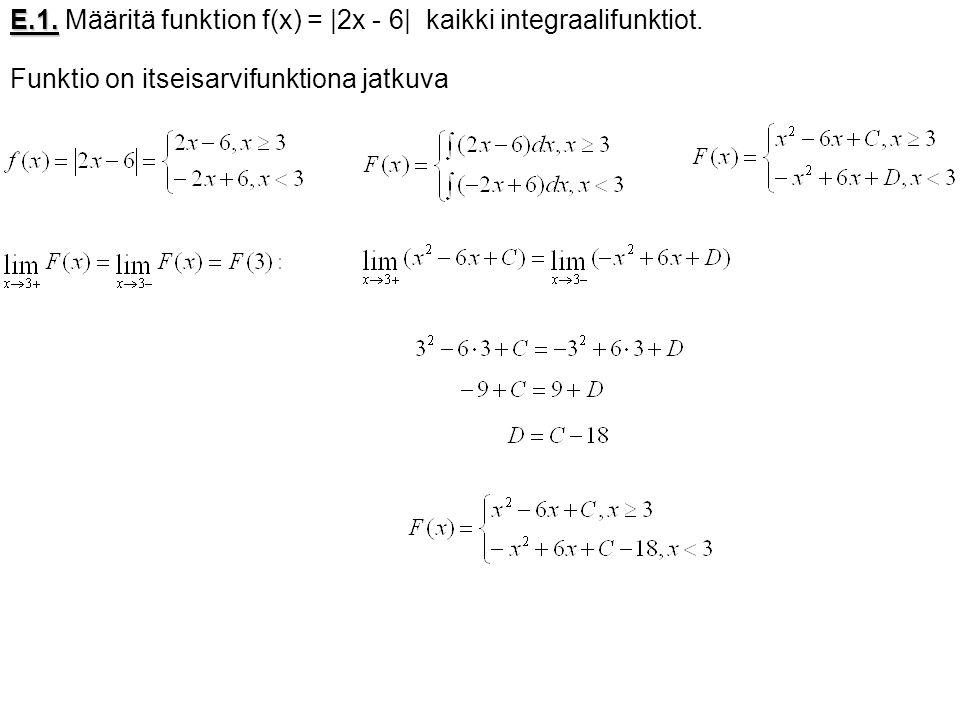 E.1. Määritä funktion f(x) = |2x - 6| kaikki integraalifunktiot.