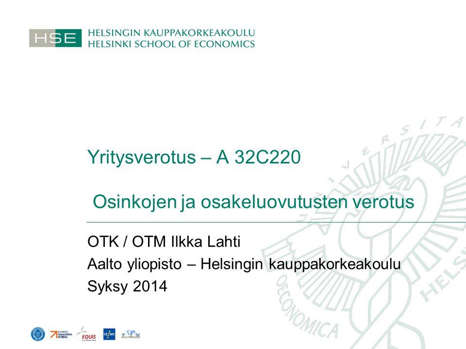 Yritysverotus – A 32C220 Osinkojen ja osakeluovutusten verotus