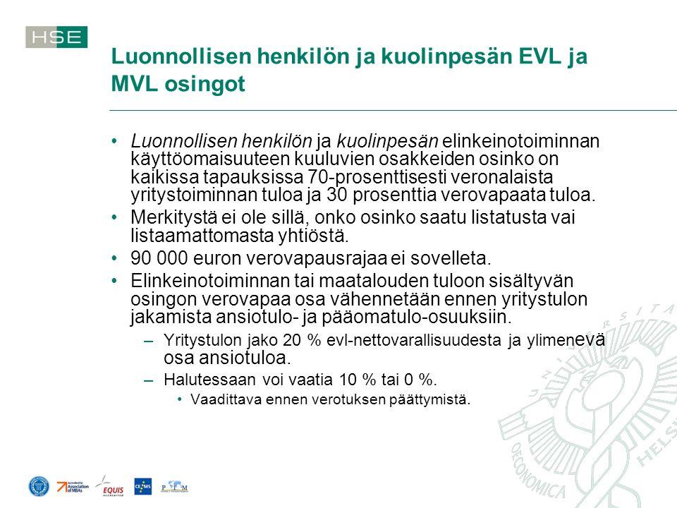 Luonnollisen henkilön ja kuolinpesän EVL ja MVL osingot