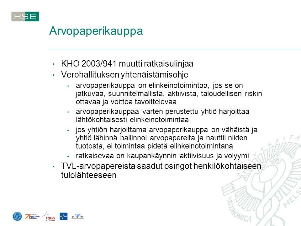 Arvopaperikauppa KHO 2003/941 muutti ratkaisulinjaa