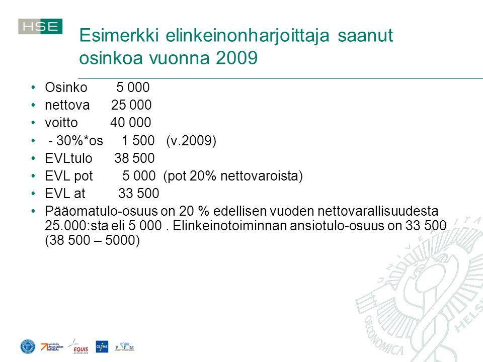 Esimerkki elinkeinonharjoittaja saanut osinkoa vuonna 2009