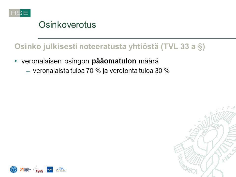 Osinkoverotus Osinko julkisesti noteeratusta yhtiöstä (TVL 33 a §)