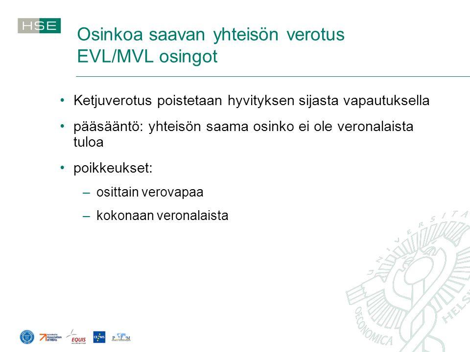 Osinkoa saavan yhteisön verotus EVL/MVL osingot