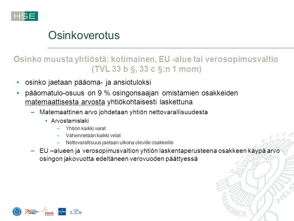 Osinko muusta yhtiöstä: kotimainen, EU -alue tai verosopimusvaltio
