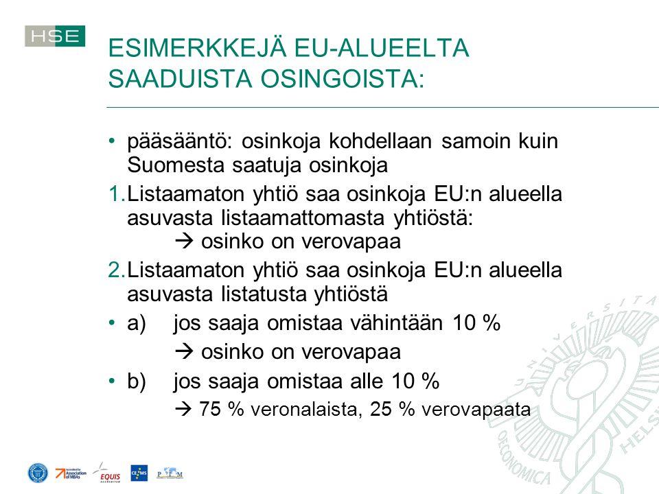 ESIMERKKEJÄ EU-ALUEELTA SAADUISTA OSINGOISTA: